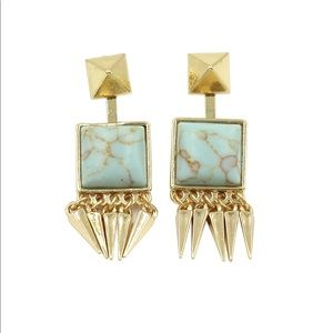Green square color stone gold earrings